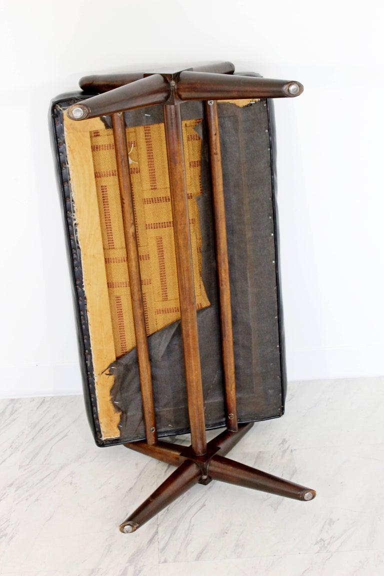 Mid-Century Modern Robsjohn Gibbings Trestle X Base Black Leather Tufted Bench For Sale 2