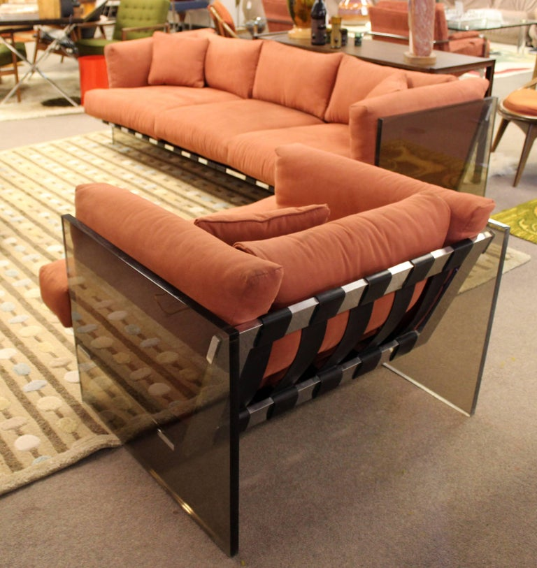 Mid-Century Modern Rare Baughman Smoked Lucite Chrome Sofa Club Chair Set, 1970s For Sale 5