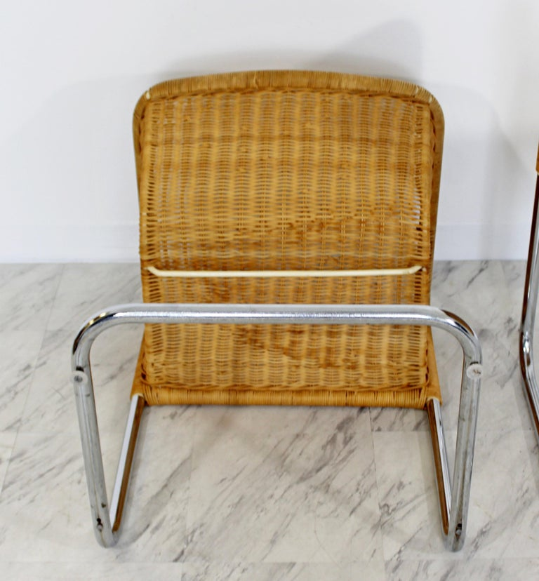 Mid-Century Modern Harvey Probber Four Wicker Chrome Cantilever ...