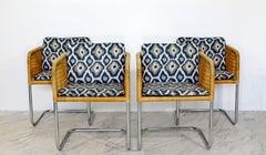 Mid Century Modern Harvey Probber 4 Wicker Chrome Cantilever Bucket Chairs