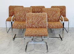 Mid Century Modern Brueton Set 6 Chrome Cantilever Dining Chairs 1960s