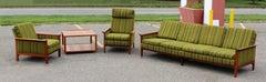 Mid Century Modern Danish Teak Sofa Pair Lounge Armchairs End Table Dux Era