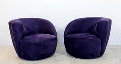 Contemporary Modern Pair of Kagan Corkscrew Swivel Chairs 1980s