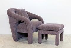 Mid Century Modern Memphis Style Purple Sculptural Armchair & Ottoman 1980s