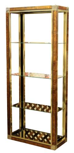 Mid Century Modern Mastercraft Brass & Glass Etagere Shelving Unit 1970s 3 Shelf
