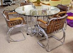 Mid Century Modern Rinaldi Tubular Chrome Base Dinette Table & 4 Chairs Italian