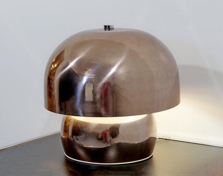 Mid-20th Century Mid-Century Modern Rare Large Laurel Metallic Copper Mushroom Table Lamp, 1960s For Sale