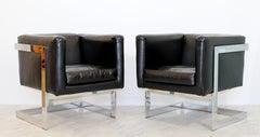 Mid Century Modern Pair Chrome Black Leather Cube Lounge Armchairs Baughman 70's