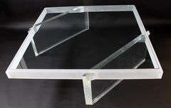 Mid Century Modern Large Lucite Glass Coffee Table Springer Hollis Jones Attr.