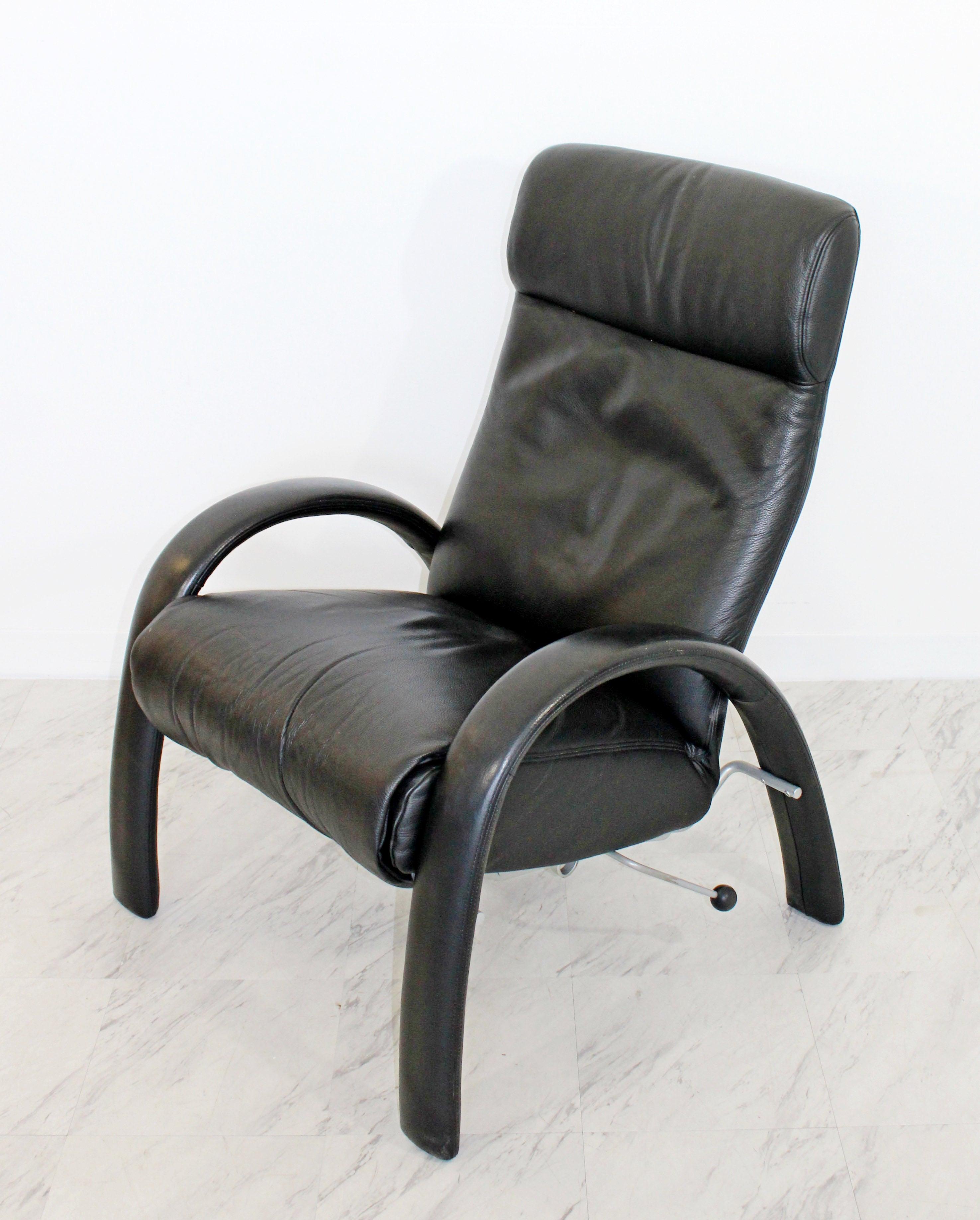 Contemporary Modern Bjork Lafer Black Leather Recliner Reclining