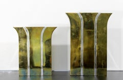 Contemporary Modernist Mixed Metal Brass Decorative Vases Made in Italy 1980s