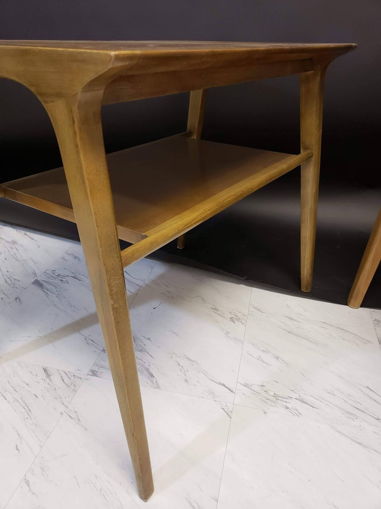 Mid-Century Modern Pair of John Van Koert for Drexel Walnut Side End Tables For Sale 5