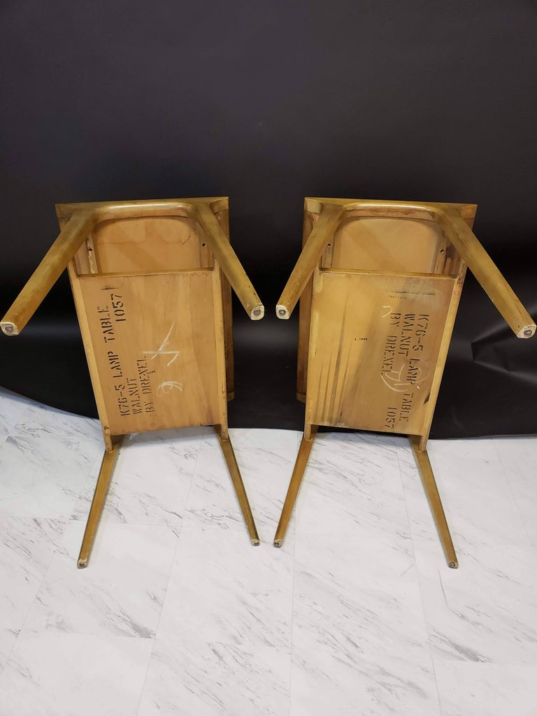 Mid-Century Modern Pair of John Van Koert for Drexel Walnut Side End Tables For Sale 6