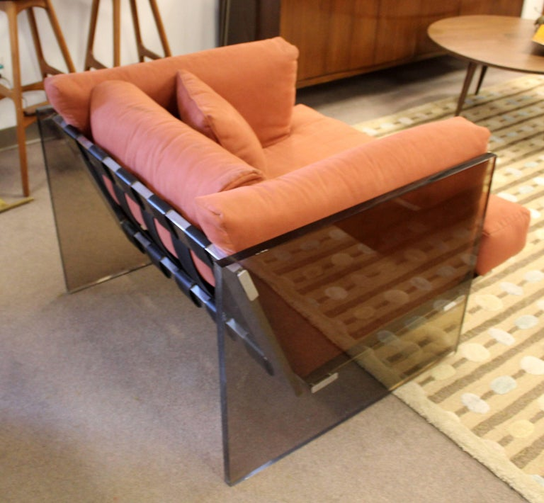 American Mid-Century Modern Rare Milo Baughman Smoked Lucite Chrome Club Lounge Chair For Sale