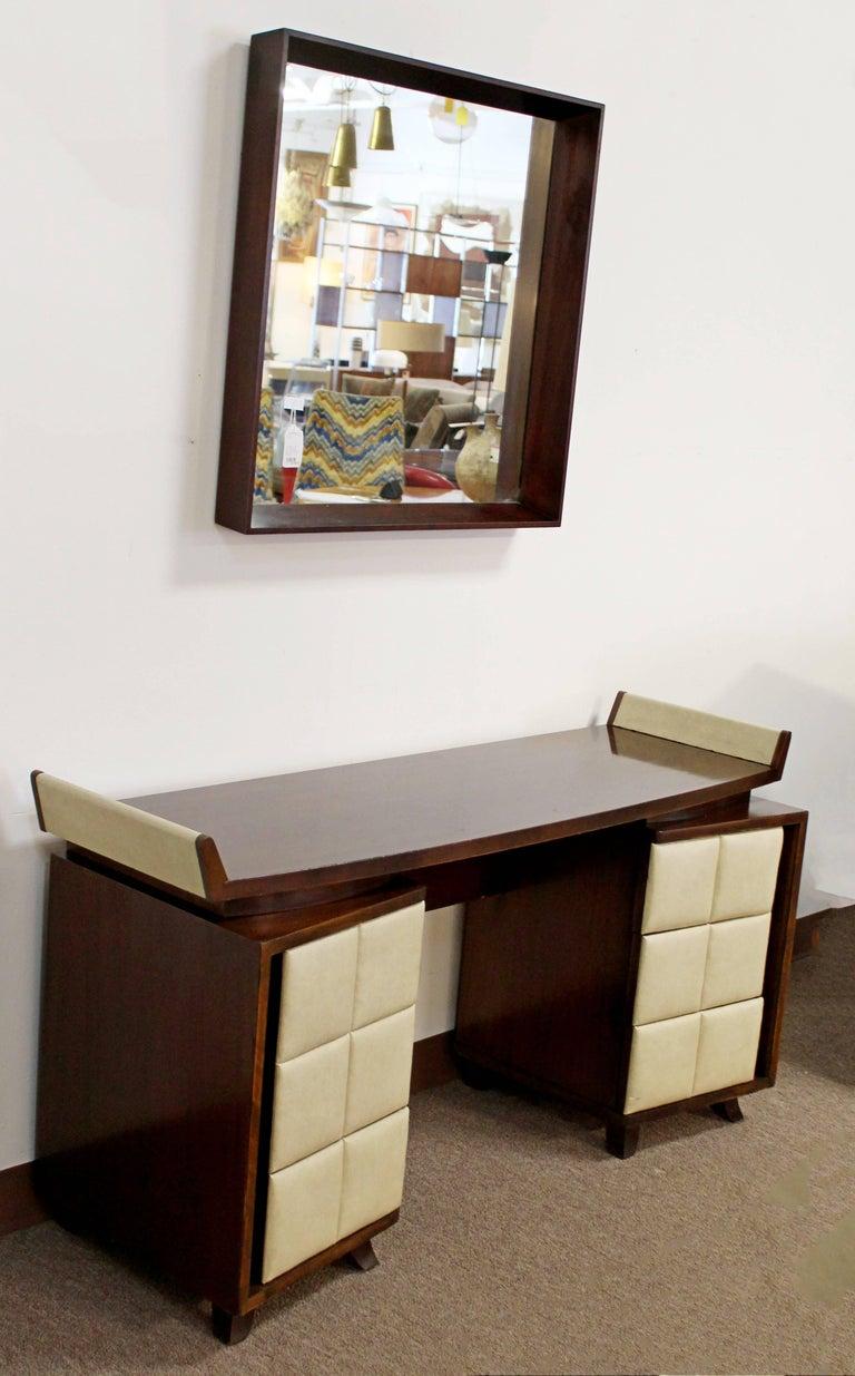Vintage Art Deco Gilbert Rohde for Herman Miller Mahogany Vanity & Mirror, 1930s In Good Condition For Sale In Keego Harbor, MI