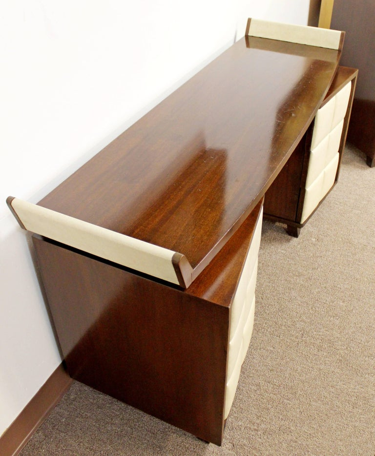 Mid-20th Century Vintage Art Deco Gilbert Rohde for Herman Miller Mahogany Vanity & Mirror, 1930s For Sale