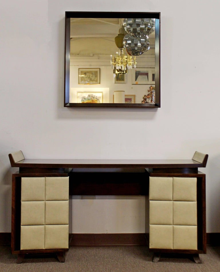 Vintage Art Deco Gilbert Rohde for Herman Miller Mahogany Vanity & Mirror, 1930s For Sale 1