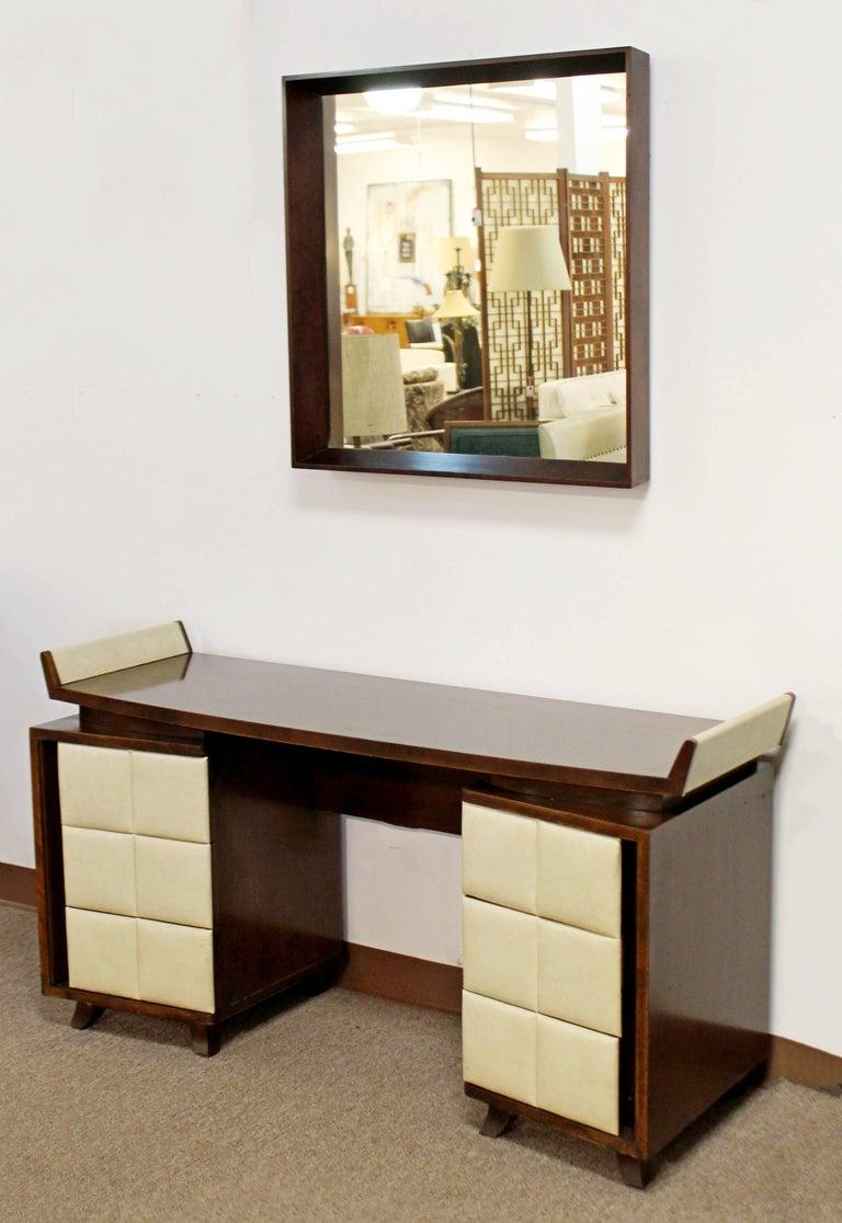 Vintage Art Deco Gilbert Rohde for Herman Miller Mahogany Vanity & Mirror, 1930s For Sale 2