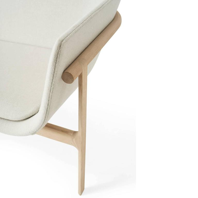 Tailor Lounge Sofa by Rui Alves in Natural Oak with Light Grey Fabric, Quickship 2