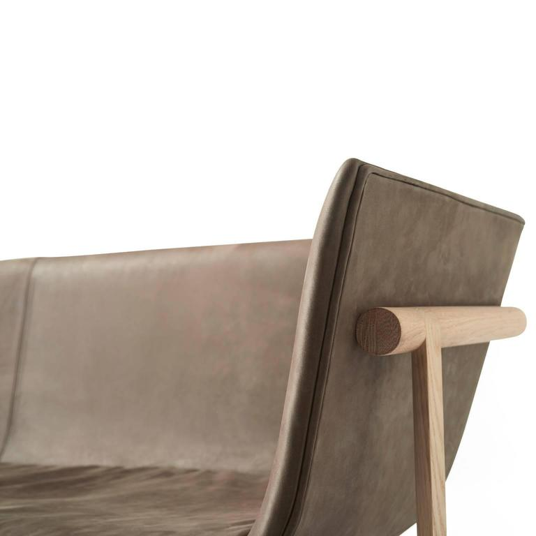 Tailor Lounge Sofa by Rui Alves in Natural Oak with Light Grey Fabric, Quickship 8