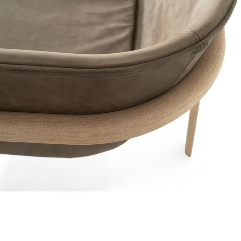 Tailor Lounge Sofa by Rui Alves in Natural Oak with Light Grey Fabric, Quickship 10