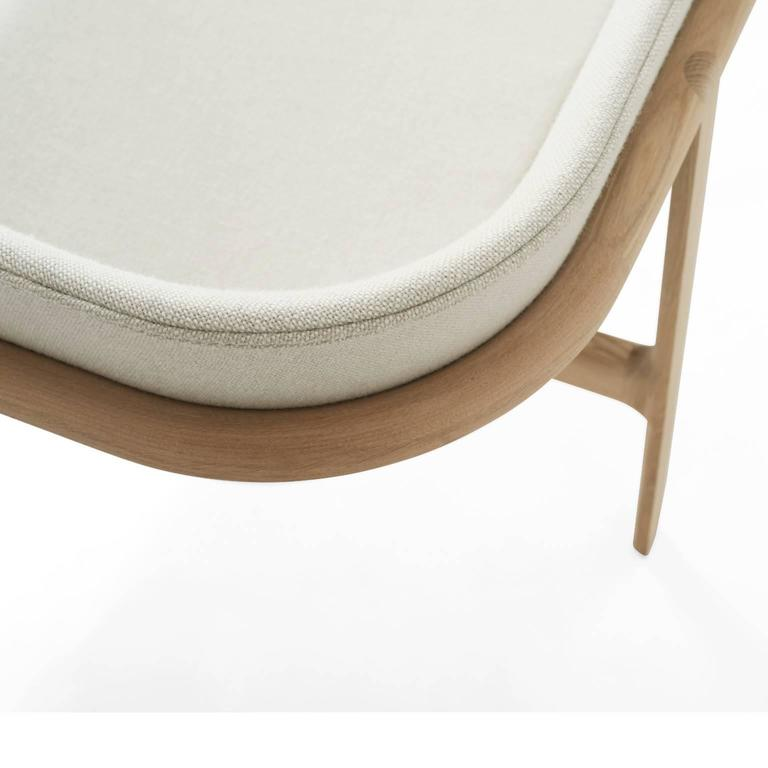 Tailor Lounge Sofa by Rui Alves in Natural Oak with Light Grey Fabric, Quickship 4