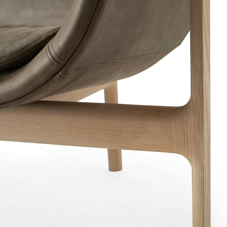 Tailor Lounge Sofa by Rui Alves in Natural Oak with Light Grey Fabric, Quickship 9