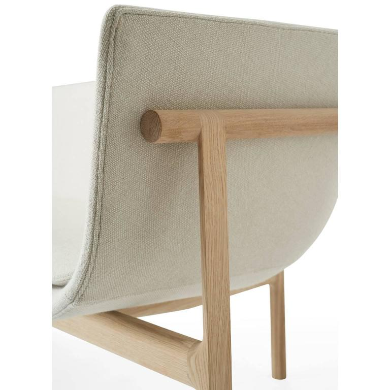 Tailor Lounge Sofa by Rui Alves in Natural Oak with Light Grey Fabric, Quickship 3