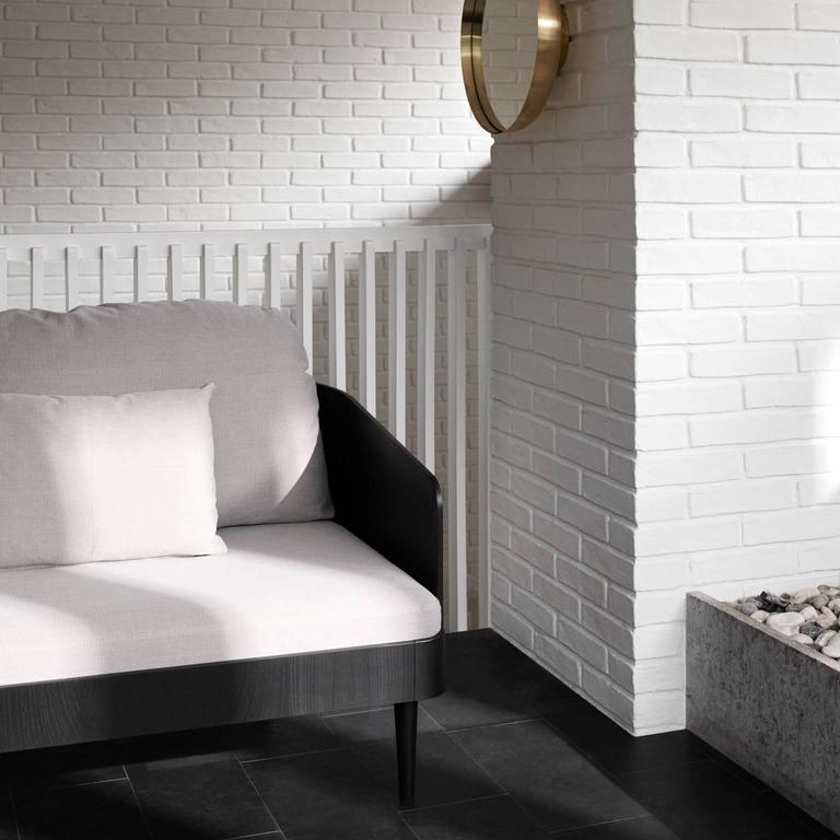 Scandinavian Modern Septembre Armchair by Theresa Arns, Ash Veneer with Fabric, Quickship For Sale