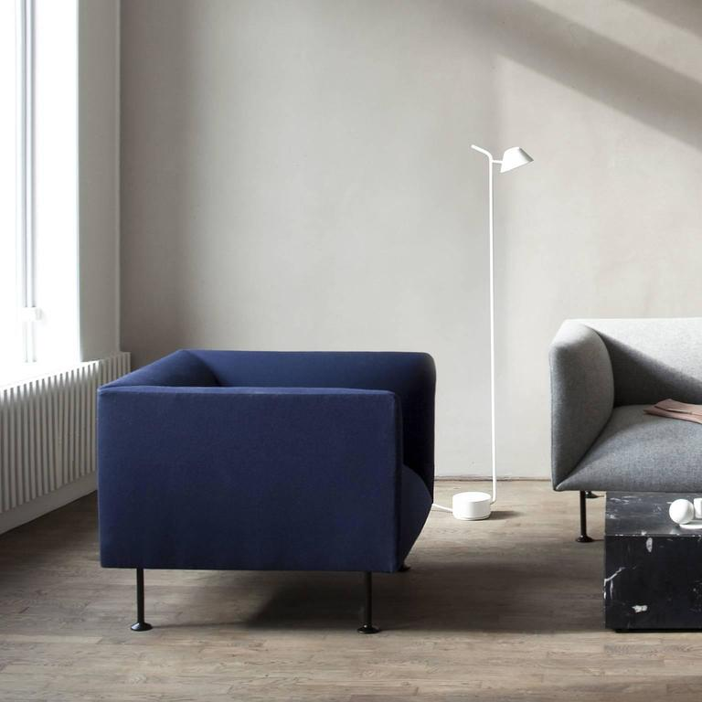 godot chair iskos berlin steel legs and navy fabric upholstery quickship for sale at 1stdibs. Black Bedroom Furniture Sets. Home Design Ideas