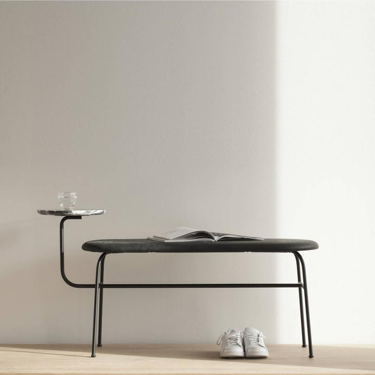 Scandinavian Modern Afteroom Bench by Afteroom in Black Steel with Black Leather For Sale