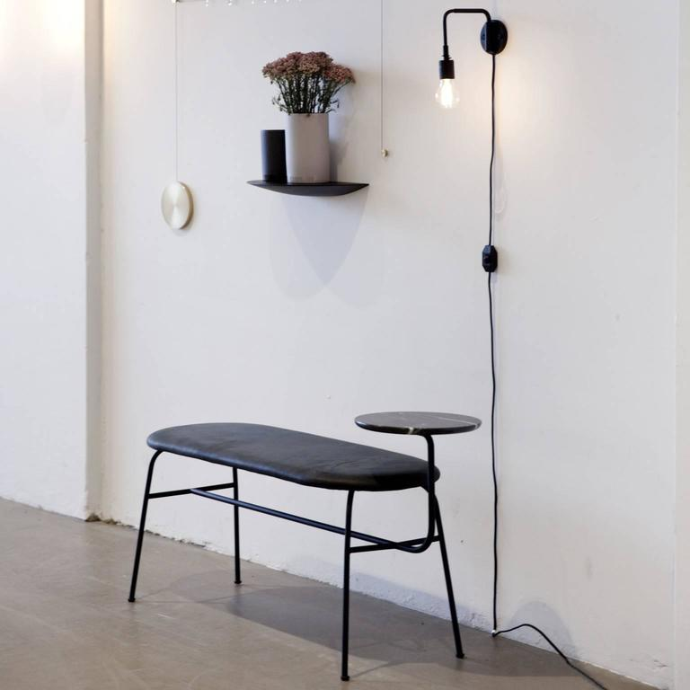 Powder-Coated Afteroom Bench by Afteroom in Black Steel with Black Leather For Sale