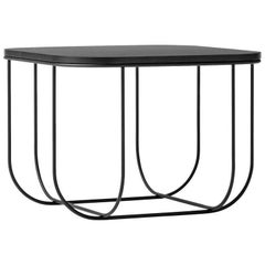 Cage Side Table by Form Us with Love, Black Metal Frame with Dark Ash Top