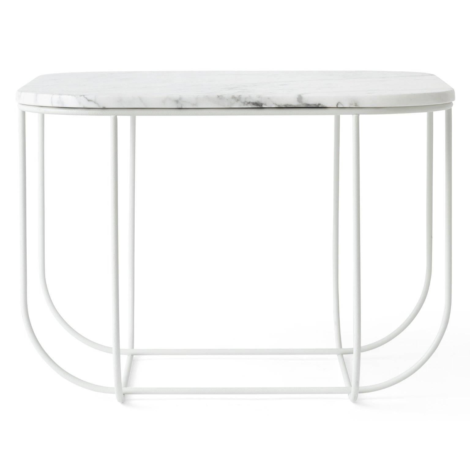 Cage Side Table By Form Us With Love, White Metal Frame With White Marble  Top