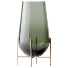 Large Echasse Vase by Theresa Arns, with Brass Legs and Smoked Glass