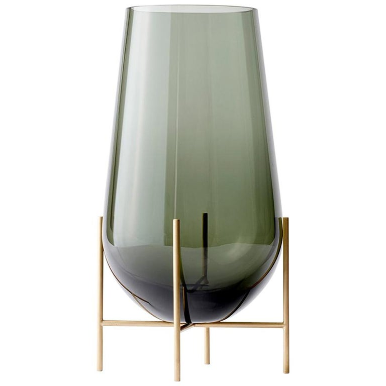 Large Echasse Vase by Theresa Arns, with Brass Legs and Smoked Glass For Sale