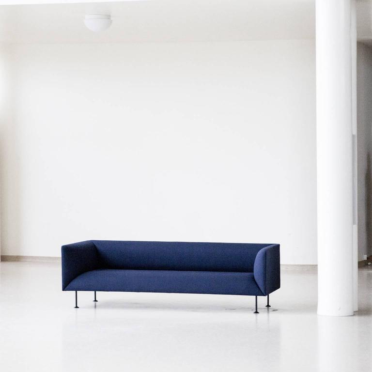 godot three seat sofa iskos berlin steel legs and navy. Black Bedroom Furniture Sets. Home Design Ideas