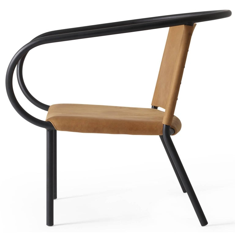 Scandinavian Modern Afteroom Lounge Chair by Afteroom, in Steel with Cognac Leather  For Sale