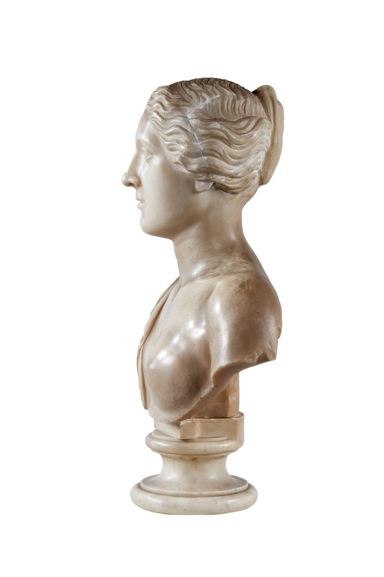 European Late 18th Century White Marble Bust of Sappho For Sale