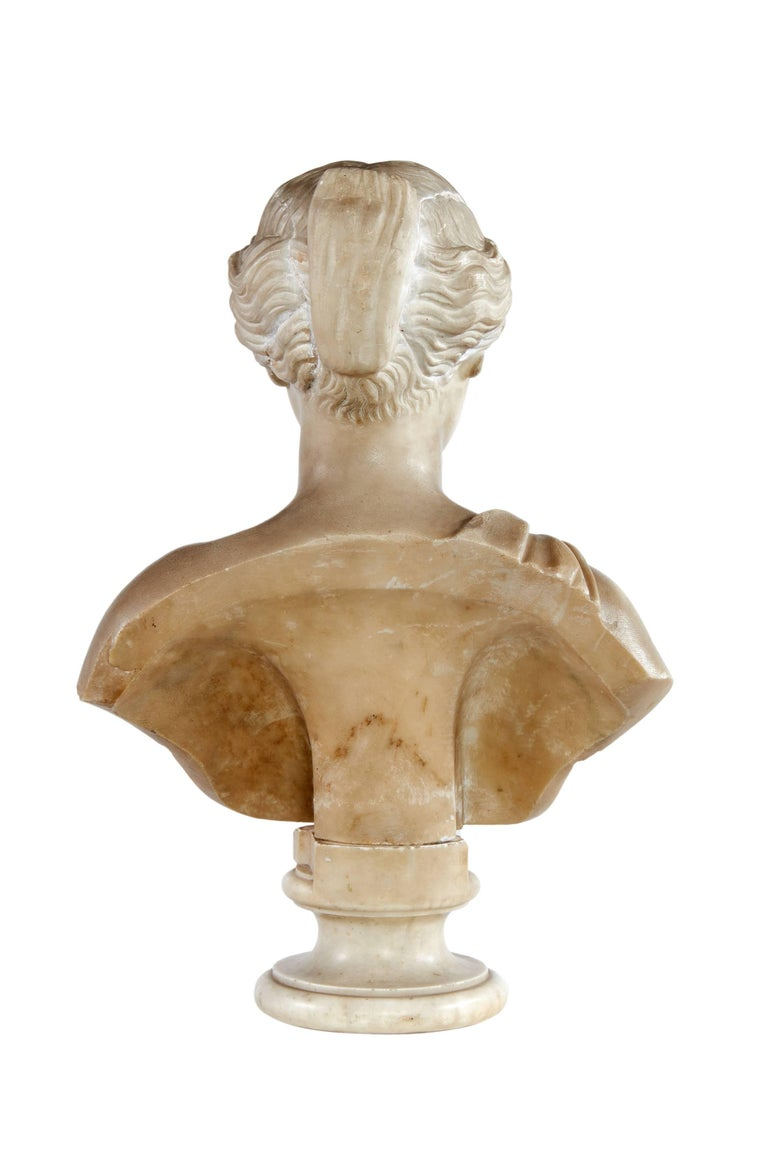Greco Roman Late 18th Century White Marble Bust of Sappho For Sale