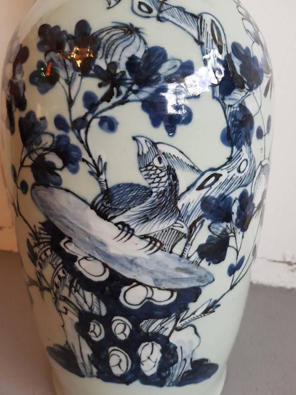 Chinese Blue and White Porcelain Vase, circa 1900 In Good Condition For Sale In Raalte, NL