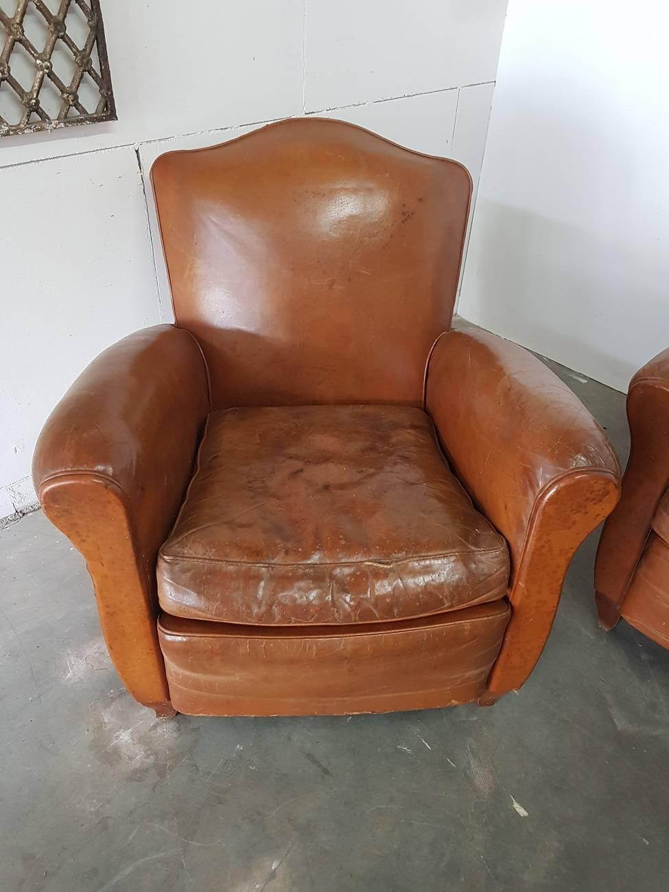 Vintage French Leather Club Chairs With Matching Sofa From The 1950s 2