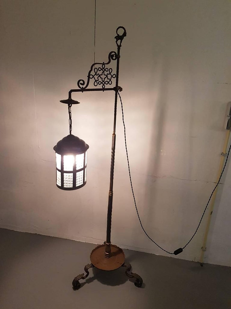 Antique Wrought Iron And Bronze Floor Lamp With Brass Lantern