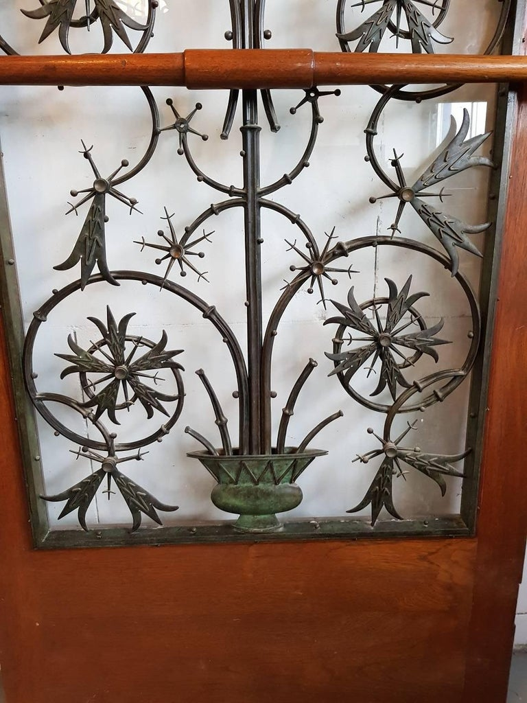 Bronze Rare Early 20th Century Dutch Brons Art Nouveau Door Grille in a Oak Door For Sale