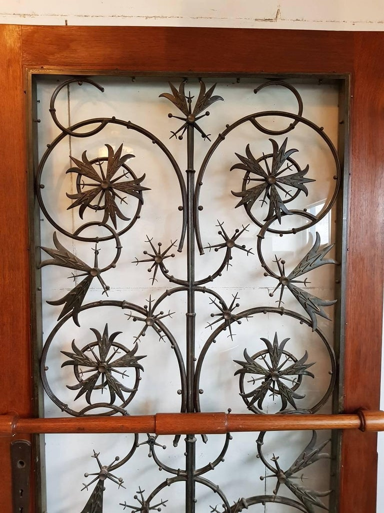 Rare Early 20th Century Dutch Brons Art Nouveau Door Grille in a Oak Door For Sale 1