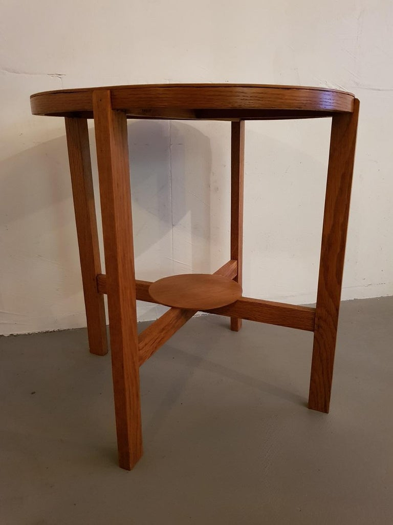 1930s Art Deco Oak Side Table And The Top Is Inlaid With Macar In Good Condition
