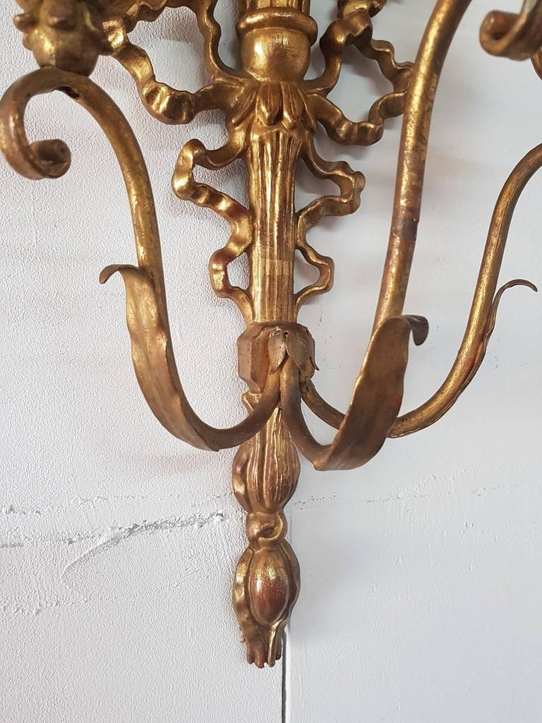 Wooden Style Wall Lights : Italian Wooden Gilded Three-Light Wall Applique Louis Seize Style from the 1960s For Sale at 1stdibs