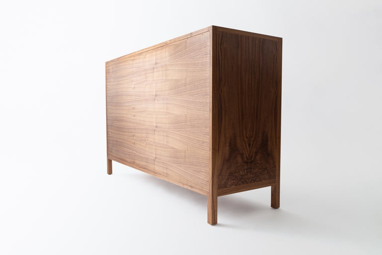 Oiled Laska Credenza, Figured Walnut and Brass, Three Doors, Customizable For Sale