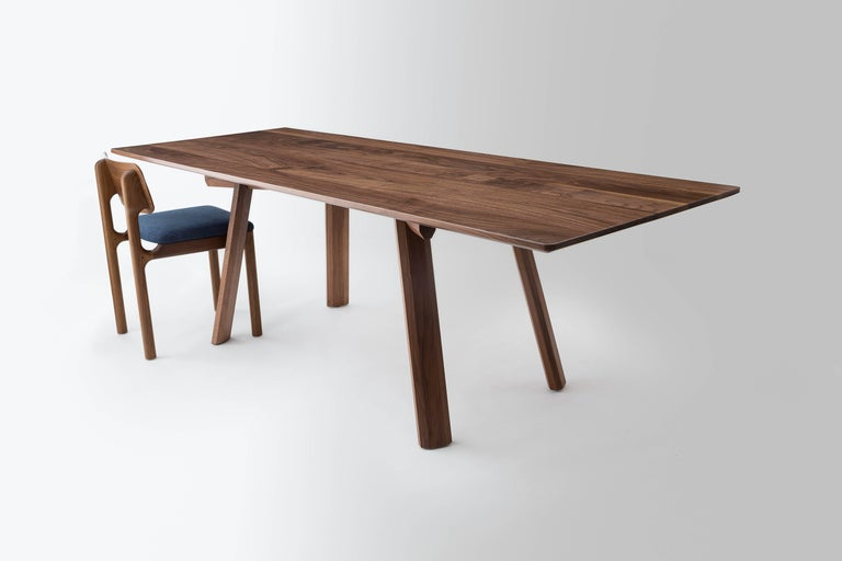 Inlay Ripley Dining Table, Solid Walnut, Six-Eight Person, Customizable For Sale