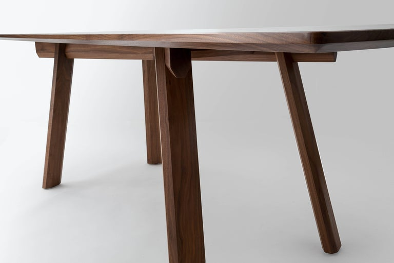 American Ripley Dining Table, Solid Walnut, Six-Eight Person, Customizable For Sale